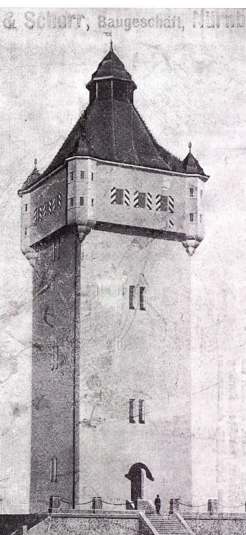 Der Wasserturm am Bergl (eigentlich Germarkung Oberndorf) nach seiner Fertigstellung 1911
