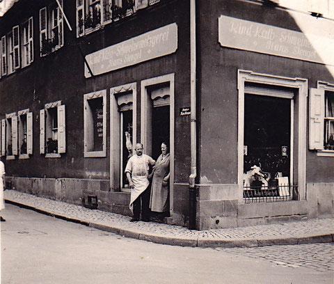 Metzgerei Hans und Meta Stengel Zehnstraße 14, links geht es zum Martin-Luther-Platz hoch