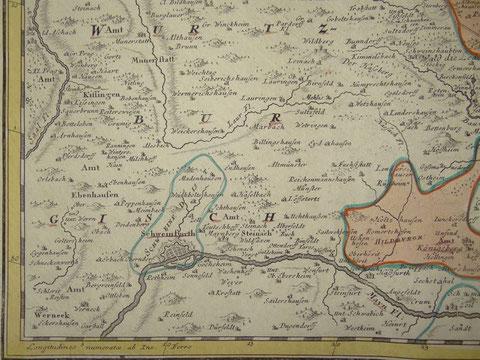 """aus """"Comitatus Henneberg""""  altkolorierte Kupferstichkarte bei Homann Erben, Nürnberg, 1743"""