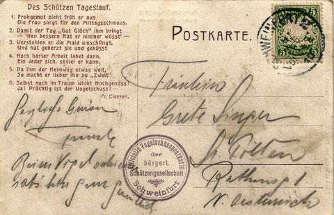1909 Vor- und Rückseite der Karte