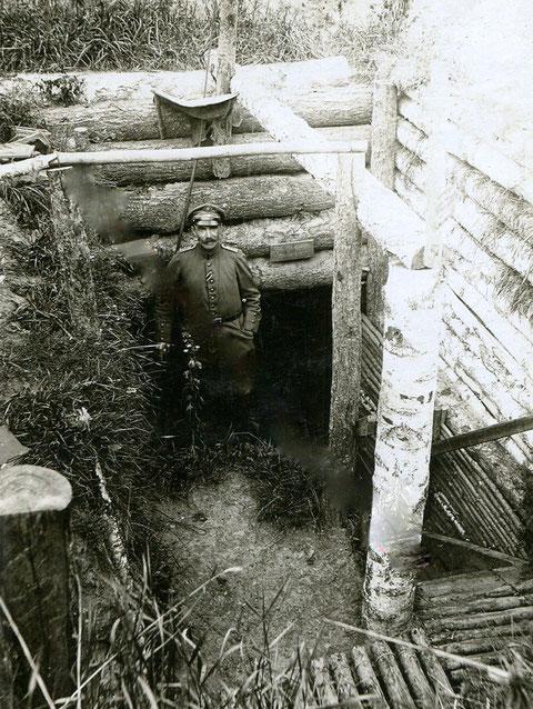 Bataillon Schweinfurt; Russland 1917; Stellung der 4. Komp. am Serwertz-Fluß vor Berzssonet (?); Oberl. Imhäuser wurde bei einer Patrouille in der ... vom 15. auf 16. Oktober getötet und von den Russen  mitgenommen.
