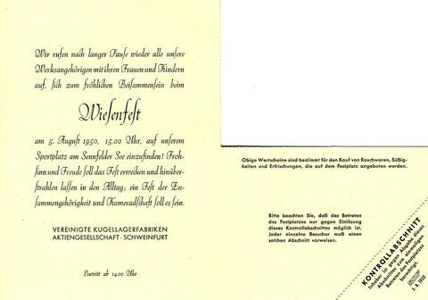 Einladung zum ersten SKF Wiesenfest nach dem 2. Weltkrieg. Innenseiten. © SKF Group