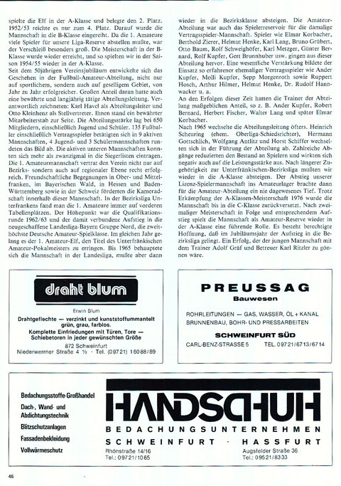 Geschichte des FC 05 Schweinfurt - Schweinfurtführer - Ein Führer ...