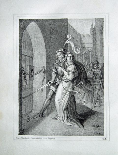 """""""Herzog Brzetislaw von Böhmen raubt seine Braut, die Grafentochter Judith"""" originale Kreide-Lithographie über Tonplatte nach einer Zeichnung von Peter Johann Nepomuk Geiger (1805 in Wien - 1880 )"""