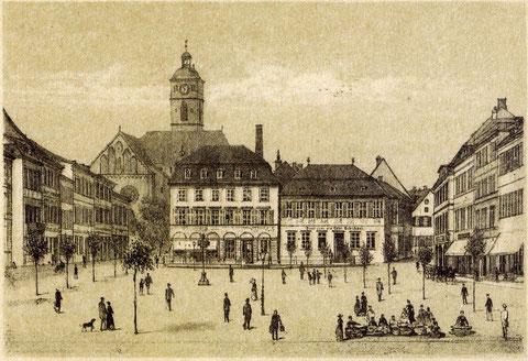 Marktplatz um 1880 - noch ohne Rückertdenkmal - von Robert Geissler (1819 - 1893)