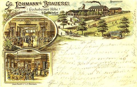 Georg Lohmanns Brauerei ein Jahr später (1896) mit neu errichteten Aussichtsturm. Im Vordergrund ein Omnibus