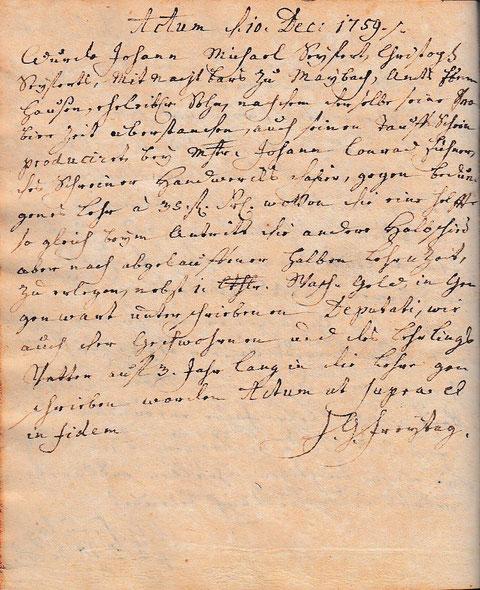 Johann Michael Seyferth aus Maibach wurde am 10. Dezember 1759 von Herrn Freitag (Freytag) für 3 Jahre zur Lehre des Schreinerhandwerks zugelassen