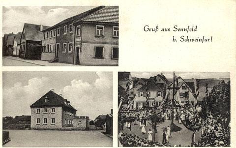 Oben links die Kolonialwarenhandlung Hermann Werner (Ecke Dachsgrube-Hauptstraße). Darunter das neue Pfarrhaus, erbaut 1949. Die neue Kirche wurde erst 1954 eingeweiht. Die Aufnahme rechts zeigt den Plantanz um 1940