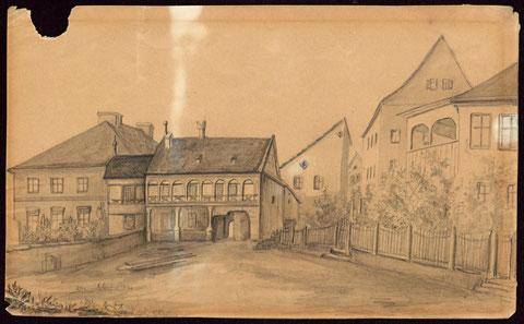 Der Zwinger -Zeichnung vermutlich von C. Sattler - Stadtarchiv