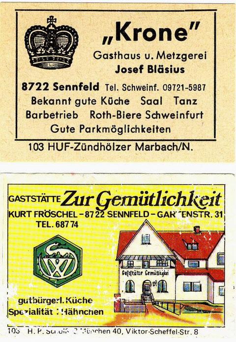 Streichholzschachteletiketten. Krone um 1970. Zur Gemütlichkeit um 1975