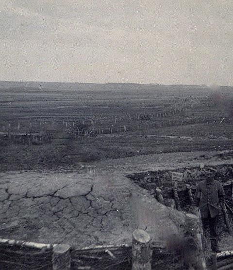 Blick auf das Niemandsland zwischen den Fronten - Russland 1917 - zwischen Newda und Serwetschgrund