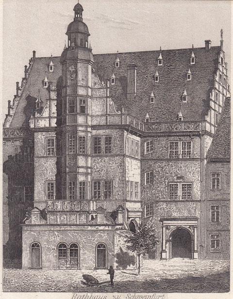 Stahlstich Rathaus um 1870