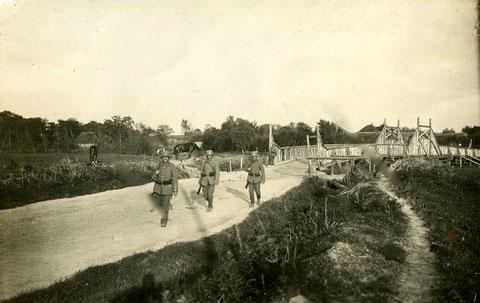 """RUSSLAND Pionierbrücke """"Volkmannbrücke"""" bayr Landst-Inf.Battl. Schweinfurt 1917"""