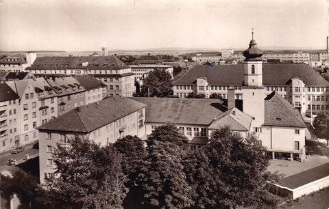 1957 - Bereich Ludwigstraße / Friedenstraße mit Ev. Gemeindehaus u. Ludwigschule