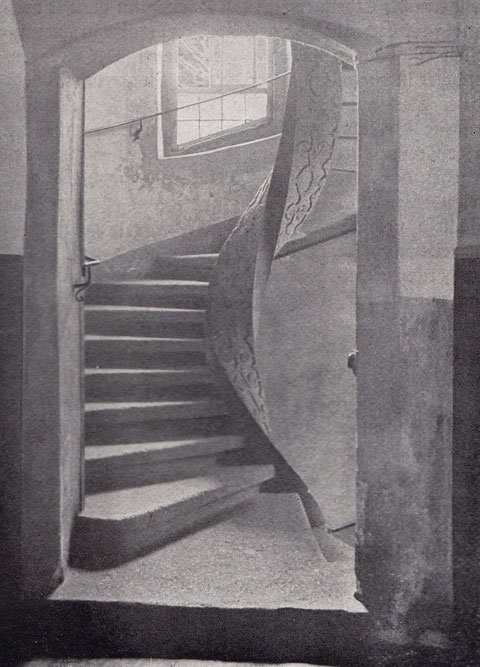 Vorkriegsaufnahme des Treppenhauses im Schrotturm, Petersgasse 3