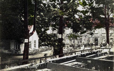 Bad Sennfeld um 1916. Vorne links die 1852 gebaute Sturzbadhalle, die in neuerer Zeit irrtümlich als das erste Badehaus bezeichnet wurde