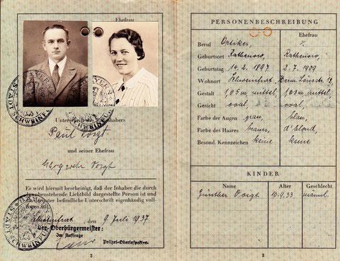 Reisepass vom 9. Juli 1937