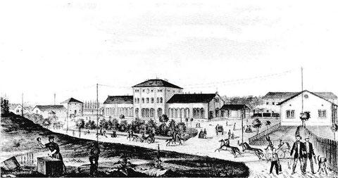 Der Stadtbahnhof 1854 - nach einer Vorzeichnung von Andreas Friedrich Kornacher