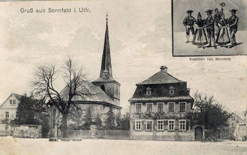 Noch ein Wintergruß. Ganz links die erste Schule. Oben rechts eingesetzte Trachtengruppe