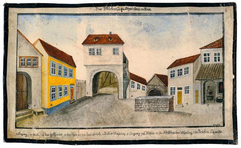 Das vorstehende Aquarell aus dem Jahr 1787 zeigt im rechten hinteren Bereich, rechts neben dem Tor beginnend, die Müller-Wohnung, den Eingang zur Mühle und die Mühlschreiberwohnung - in der Mitte das Tor zur Staubbrücke (nun Maxbrücke) - bitte vergrößern!