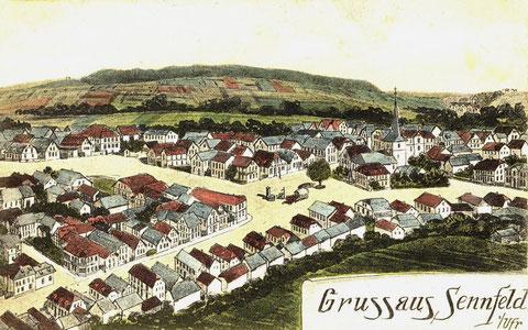 Eine so genannte Pernat-Karte. Hans Pernat (1867-1919) ist für seine künstlerisch gestalteten topografischen Postkarten  bekannt. Heute sind sie bei Sammlern sehr beliebt. Hier eine  Grußkarte von Pernat aus dem Jahr 1911
