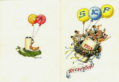 Einladung zum SKF Wiesenfest  1953. Vorder- u. Rückseite, © SKF Group