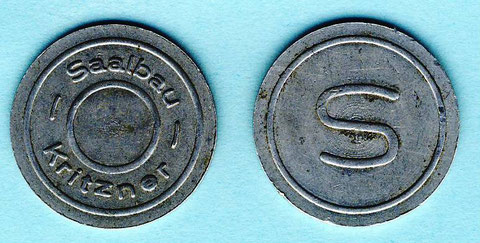 Biermarke Saalbau Kritzner um 1935. Durchmesser 24,0 mm