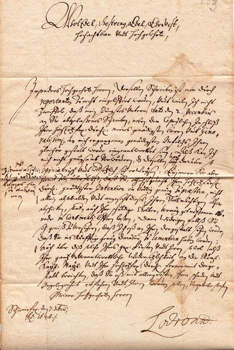 Brief Lodrons vom 7. Dezember 1646