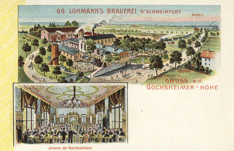 Georg Lohmanns Brauerei 1905. Einige bauliche Ergänzungen sind erkennbar. Die zwei Züge im Hintergrund sind auf Kollisionskurs. Die Strecke Gochsheim- Schweinfurt war nur eingleisig