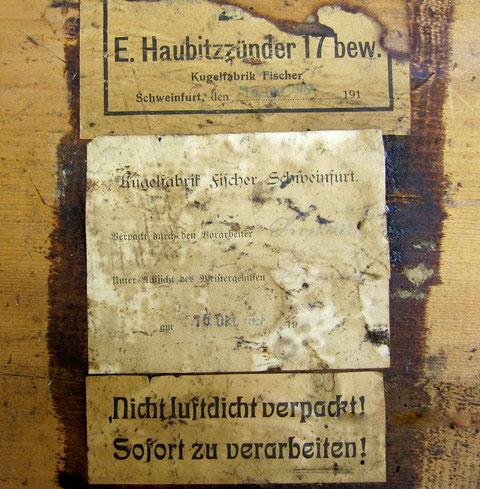 Kugelfabrik Fischer Schweinfurt lieferte (hier im Oktober 1917) Haubitzenzünder für die Front