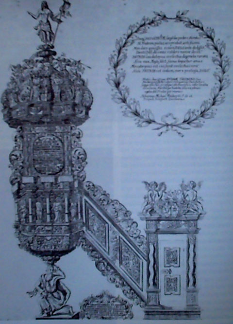 Radierung - Kanzelansicht aus dem Jahr 1696