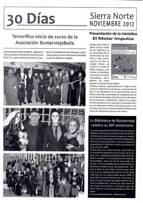 FIESTA DE HALLOWEEN BUSTARVIEJOBAILA EN LA REVISTA LA VOZ DE LA SIERRA NORTE  NOVIEMBRE 2012