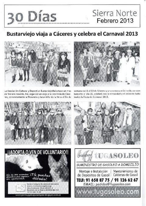 FIESTA DE CARNAVAL Y VIAJE DE LOS ENAMORADOS DE LA ASOCIACIÓN BUSTARVIEJOBAILA PUBLICADO EN LA REVISTA LA VOZ DE LA SIERRA NORTE.