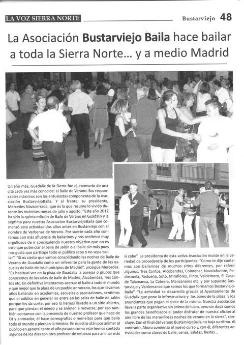 BAILE DE VERANO EN LA REVISTA LA VOZ SEPTIEMBRE 2012