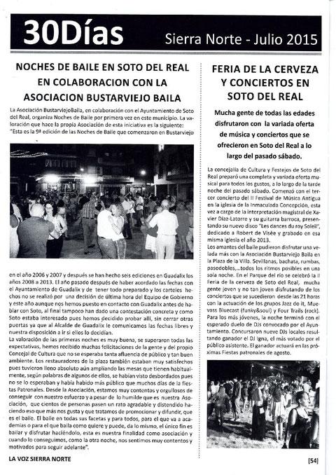 LA REVISTA LA VOZ PUBLICA EL ÉXITO DE LA PRIMERA NOCHE DE BAILE EN SOTO DEL REAL