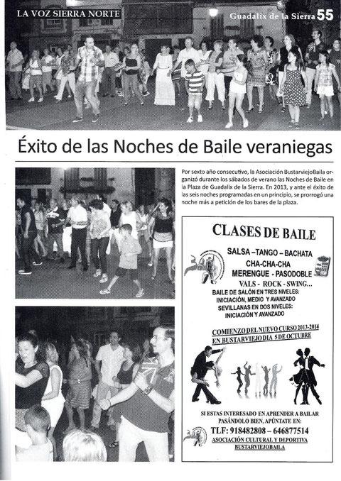 REPORTAJE SOBRE EL BAILE DE VERANO 2013 EN LA REVISTA LA VOZ DE  LA SIERRA NORTE