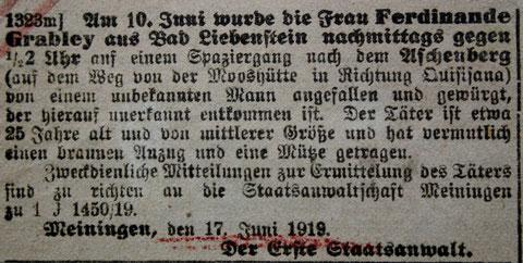Quelle. Oberlehrer Büttner/Harry Stein - Stammgast 1919