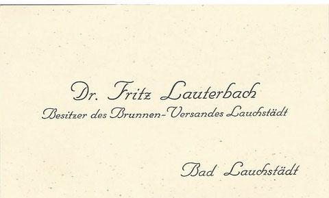 Visitenkarte im Besitz von Fritz Lauterbach