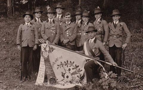 Schützenfest Juli 1930, 2. von links - Walter Leinweber, Sammlung Familie Leinweber