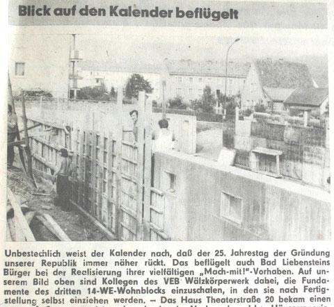 1974 war eines der Wälzkörperblöcke im Bau - rechts Haus Boxberger - aus dem Freien Wort