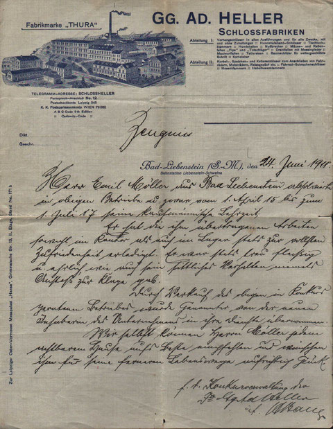 Zeugnis vom 24.Juni 1918 für Emil Möller