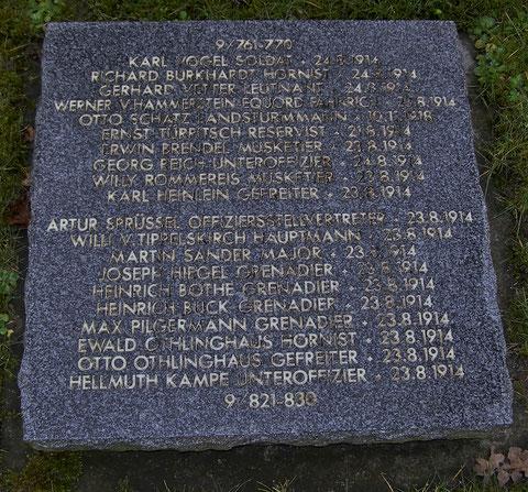 Georg Reich als achter von oben auf der Grabplatte in Vladslo / Belgien - Foto Fritz Eberhard Reich