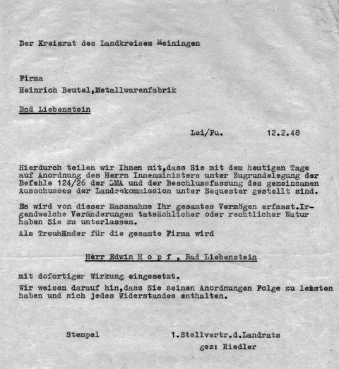 Innenminister stellt am 12.02.1948 den Betrieb unter Sequester