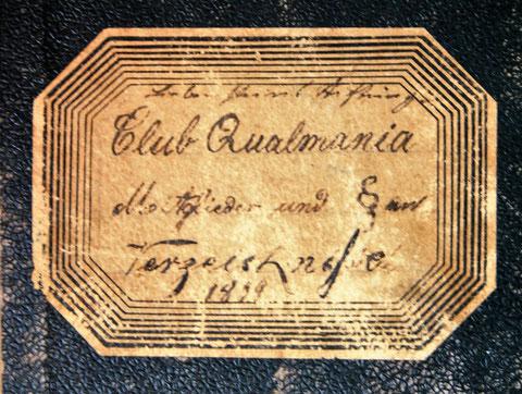 Beschriftung des Buchdeckels Qualmania 1899 - Quelle Monika Reich