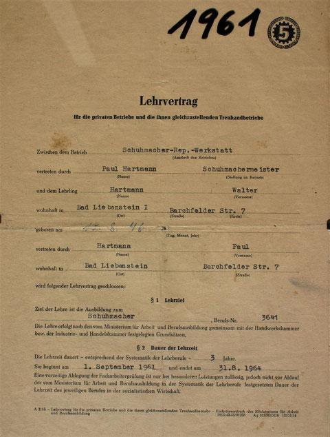 Lehrvertrag Walter von 1961