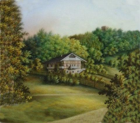 Villa Modesta auf Porzellanteller (um 1865)von Volker Henning auf quadratisch getrimmt