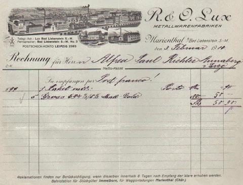 Rechnung vom 03.02.1914 - Repro W.Malek