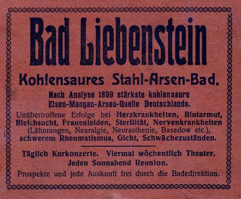 Entnommen der Karte von Thüringen Hofbuchdruckerei H.Kahle Eisenach - Erstes Jahrzehnt 20.JH