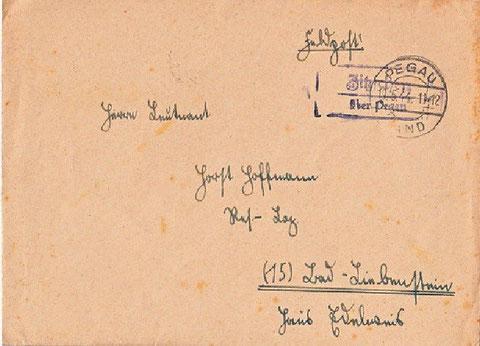Feldpost 1944 an das Lazarett Haus Edelweiß