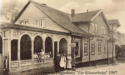 Klosterbräu 1907 - rechts Bäckerei Krech   Archiv H.Luck -W.Müller